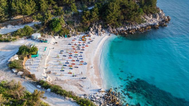 Marble beach (Saliara beach) på Thassos